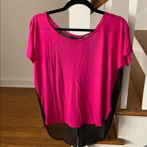 Express magenta top with black chiffon open back-M